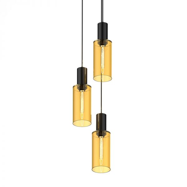 Adorn In Glass Cylinder-C triplet-gold with black bobble