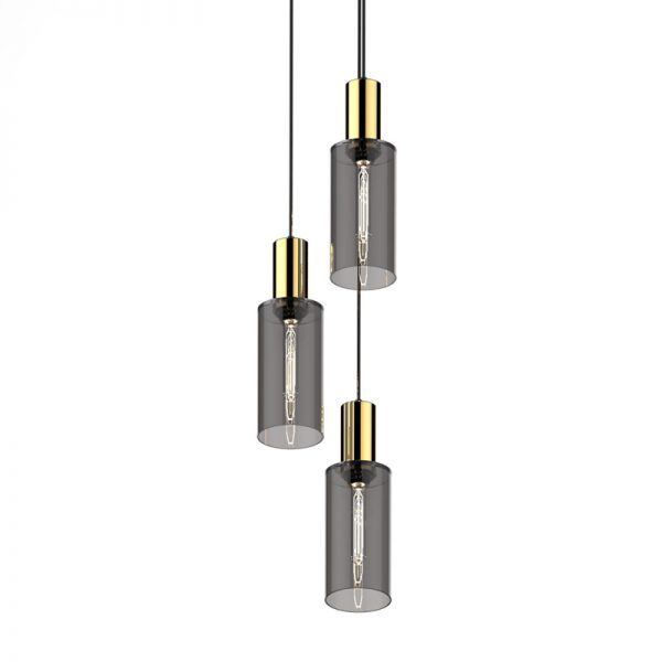 Adorn In Glass Cylinder-C triplet with gold bobble
