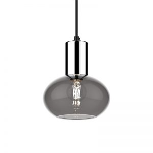 Adorn grey oval pendant with silver cylinder