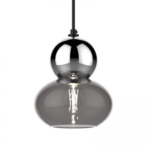 Adorn oval round chrome bobble grey glass