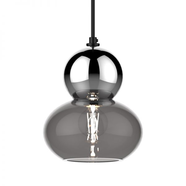 Adorn oval round chrome bobble grey glass