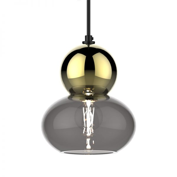 Adorn oval round gold bobble grey glass