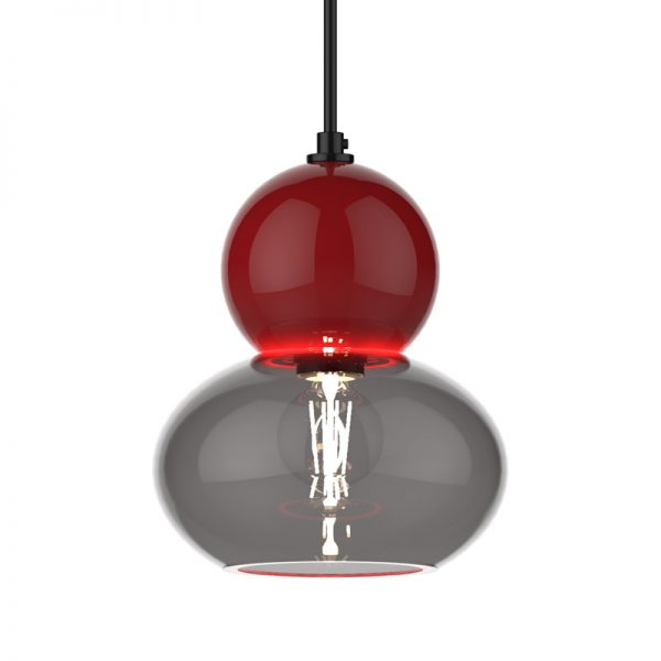 Adorn oval round red bobble grey glass