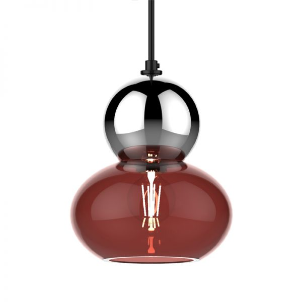 Adorn oval round silver bobble ruby glass