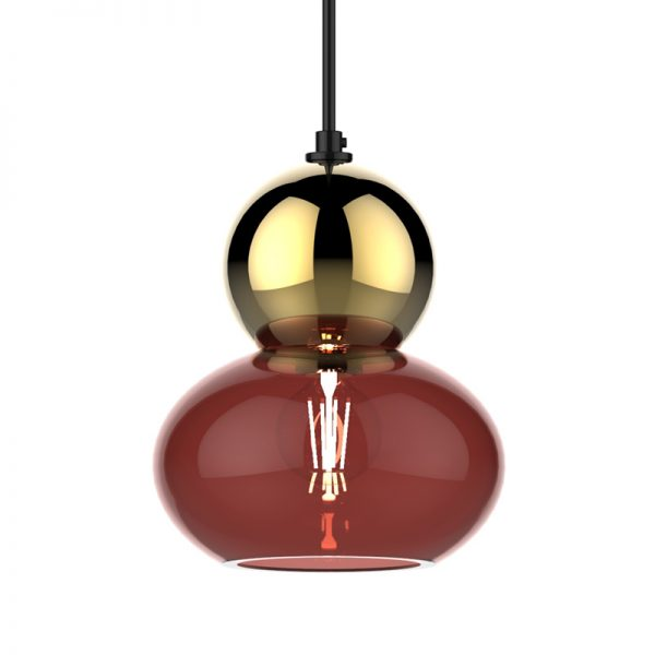 Adorn ruby oval gold bobble
